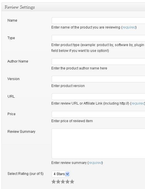 Cara mengatur postingan dengan  memasukan rincian review dari produk