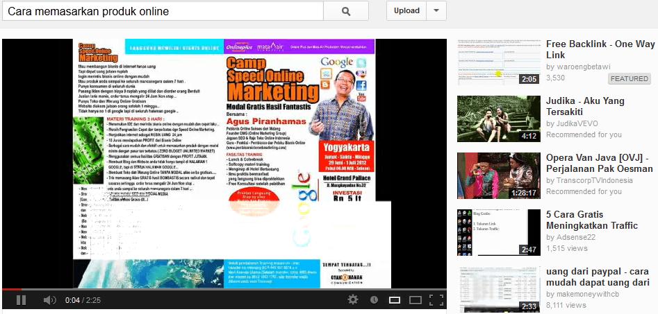 Memasarkan Produk  Online Melalui Video